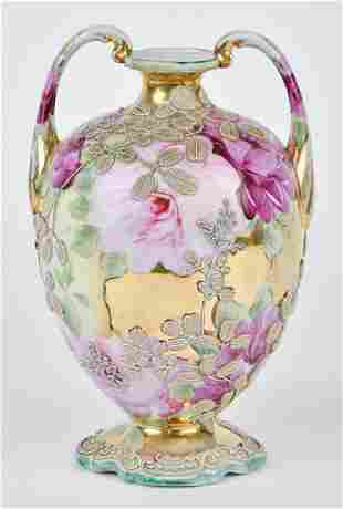 Nippon Vase with Moriage Decoration