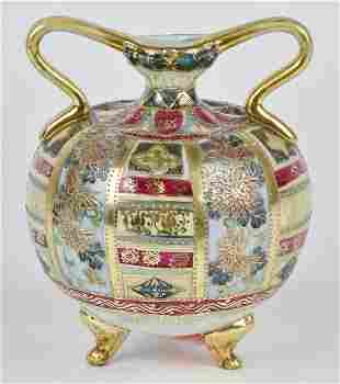 Nippon Footed Vase with Gold Decoration