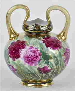 Nippon Vase with Floral Decoration