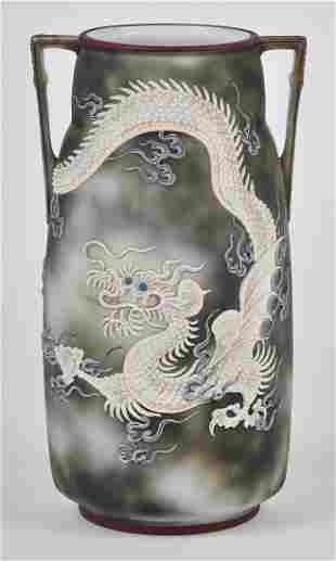 Large Nippon Moriage Dragon Vase