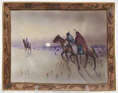 Rare Nippon Rectangular Plaque with Indians