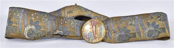 Japanese Silk Belt with Satsuma Buckle