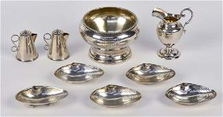 Nine Pieces Sterling Holloware