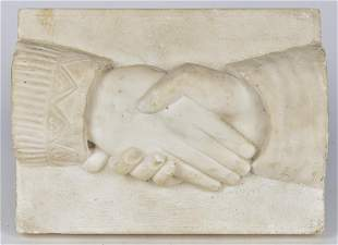 Carved Marble Plaque of Clasped Hands