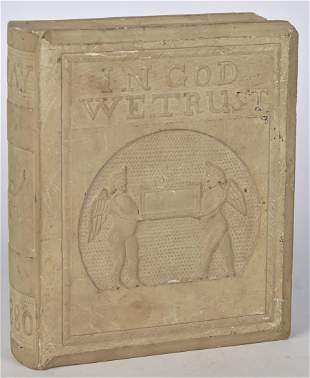 Outstanding Folk Art Carved Limestone Book