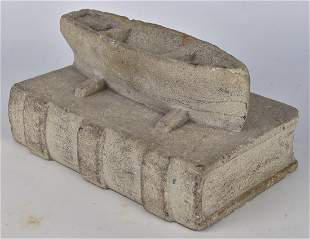 Fok Art Limestone Carved Boat & Book