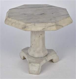 Miniature White Marble Empire Pedestal Table