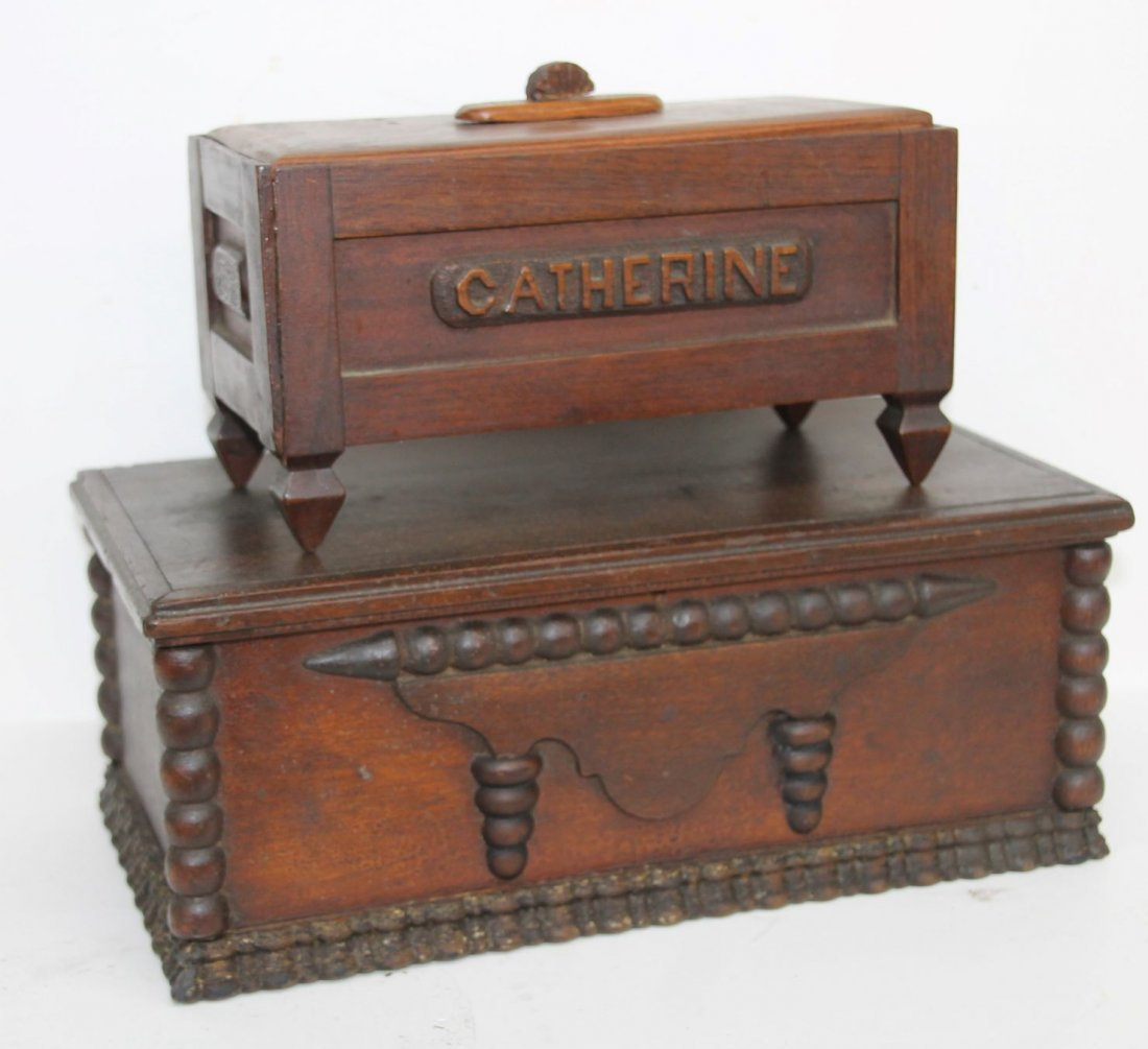 Two Folk Art Carved Boxes