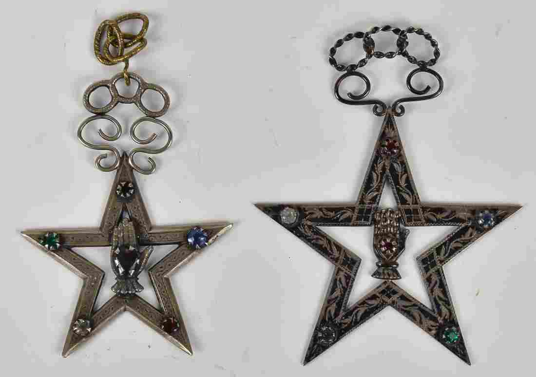 Two Silver Jeweled Odd Fellows Badges