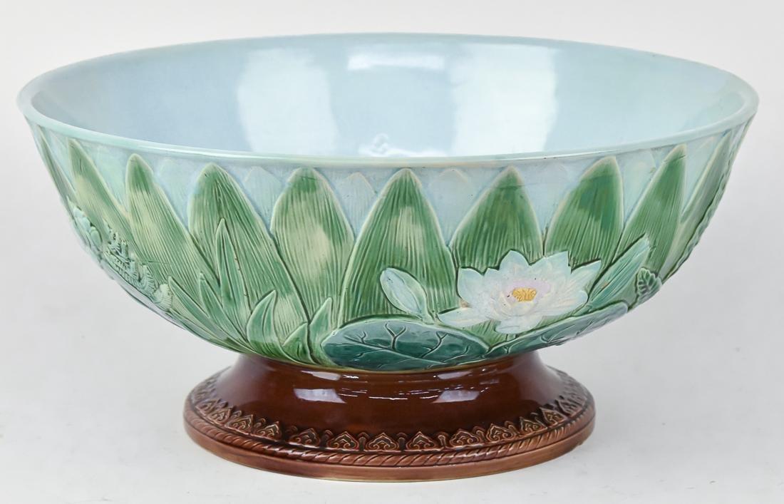 Fine Victorian Majolica Punch Bowl