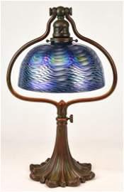 Tiffany Studios Desk Lamp w/ Rare Blue Damascene Shade