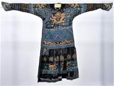 Chinese Qing Dynasty Embroidered Dragon Robe