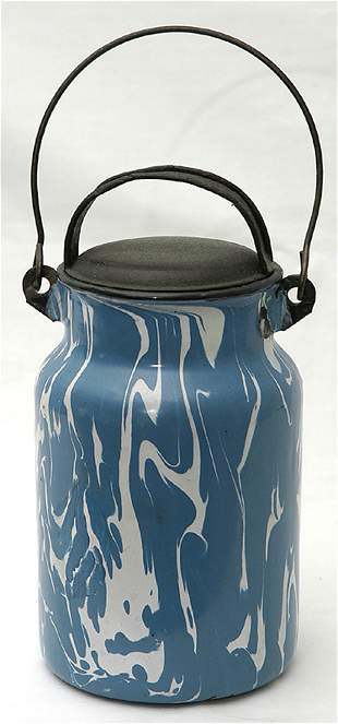 Blue & White Graniteware Cream Can w/Tin Lid & Bail