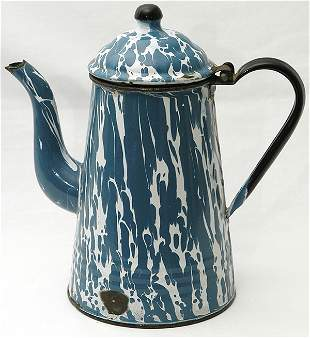 Blue & White Graniteware Gooseneck Coffee Pot