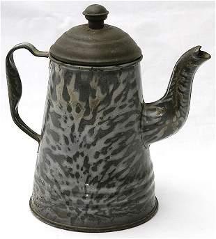 Gray Graniteware Gooseneck Coffee Pot w/Tin lid