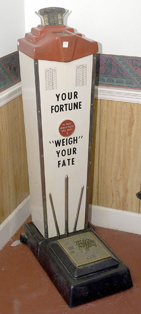 12: Coin Operated Penny Fortune & Weight Scales