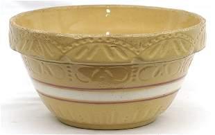 Yellowware Bowl w/White & Red Rings