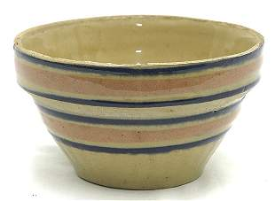 Small Yellowware Bowl w/Blue & Pink Rings