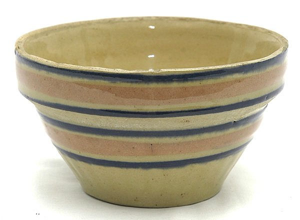 16: Small Yellowware Bowl w/Blue & Pink Rings