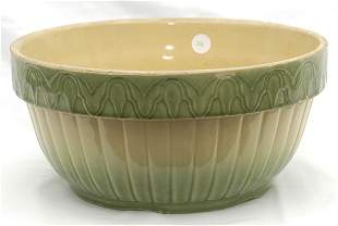 Cream & Green Stoneware Bowl