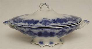 95: Flow Blue Clarence Oval Covered Vegetable Bowl