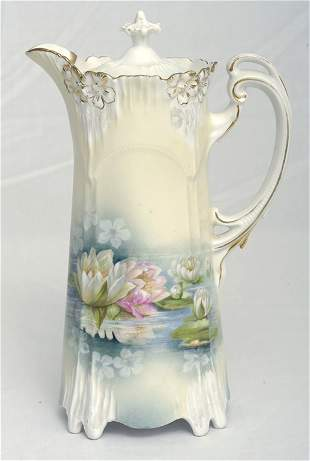 RS Prussia Chocolate Pot w/ Water Lilies