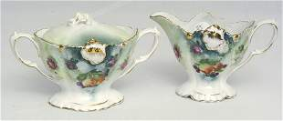 RS Prussia Sugar and Creamer w/ Fruit & Floral Dec