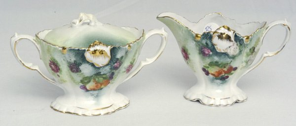 201: RS Prussia Sugar and Creamer w/ Fruit & Floral Dec