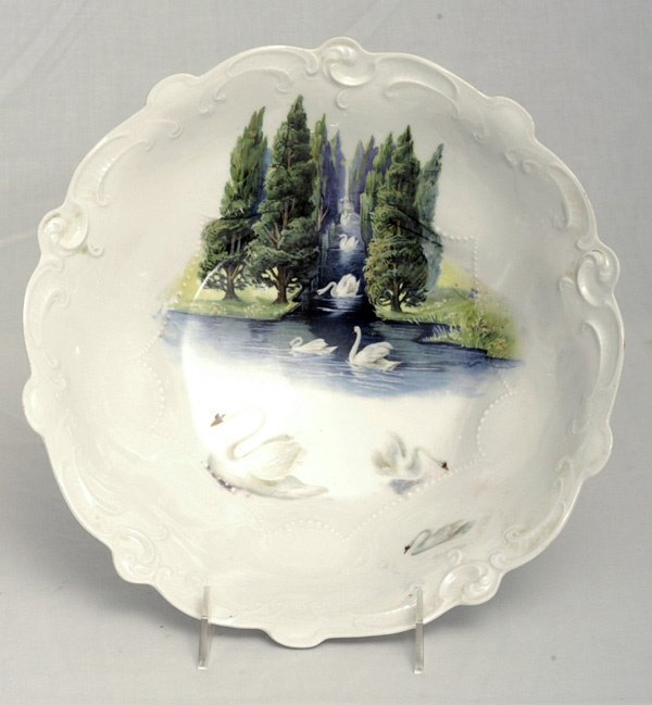 202: RS Prussia Bowl w/ Swans & Evergreens