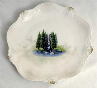 RS Prussia Plate w/ Swans & Evergreens