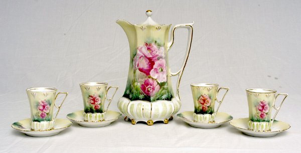 207: RS Prussia Chocolate Set w/ Poppies Decoration