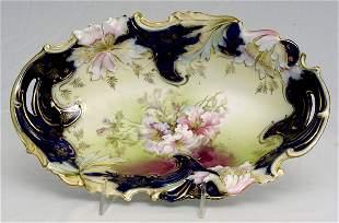 RS Prussia Saxe Altenburg Cobalt Blue Oval Bowl