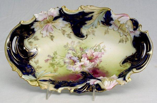 209: RS Prussia Saxe Altenburg Cobalt Blue Oval Bowl