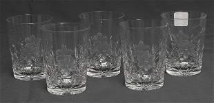 Set of Five Cut Glass Tumblers