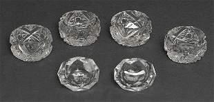 Six Cut Glass Salts