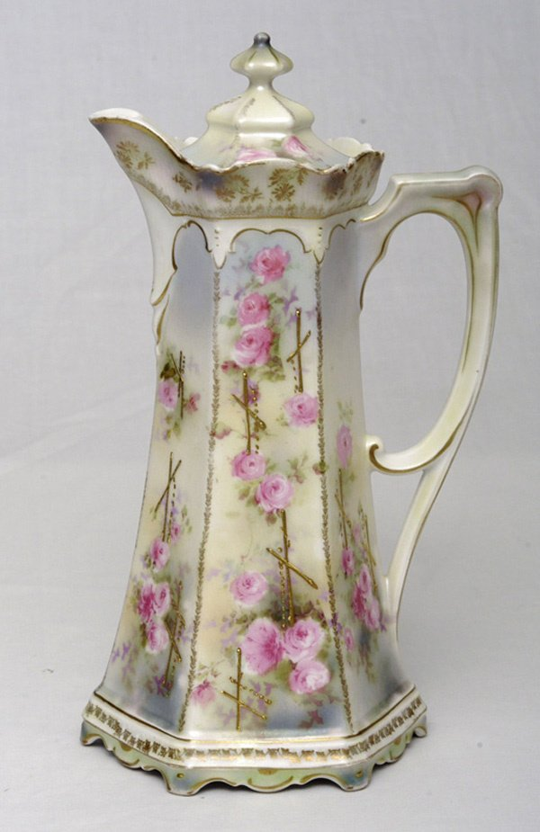 217: RS Prussia Chocolate Pot w/ Roses & Gold