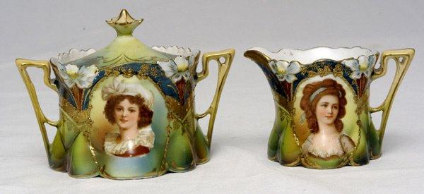 220: RS Prussia Lebrun Portrait Sugar & Creamer