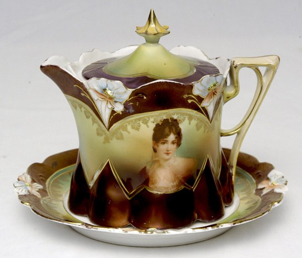 221: RS Prussia Portrait Syrup Pitcher w/ Underplate