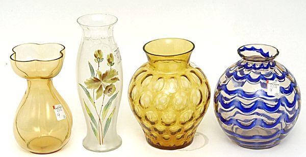 Four Art Glass Vases