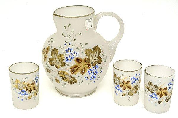 5: Victorian Art Glass Clambroth Pitcher & 3 Tumblers