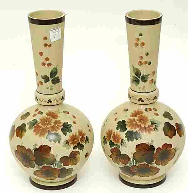 Pair of Fireglow Art Glass Vases