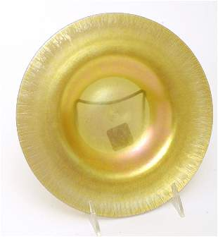 Steuben Gold Aurene Art Glass Plate