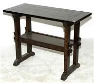 320: Romweber Oak Horse Head Trestle Table
