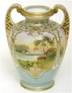 Nippon Scenic Vase w/ Turquoise Body