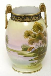 Nippon Vase w/ Scenic View of Cottage on Lake