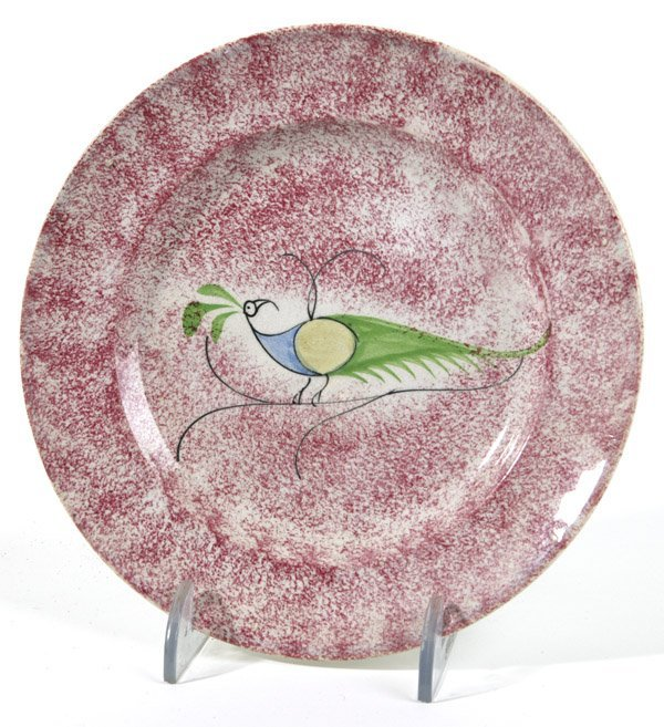 9: RED SPATTERWARE PEAFOWL PLATE