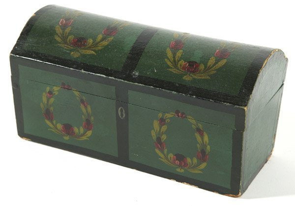 12: SMALL PAINT DECORATED DOME TOP BOX