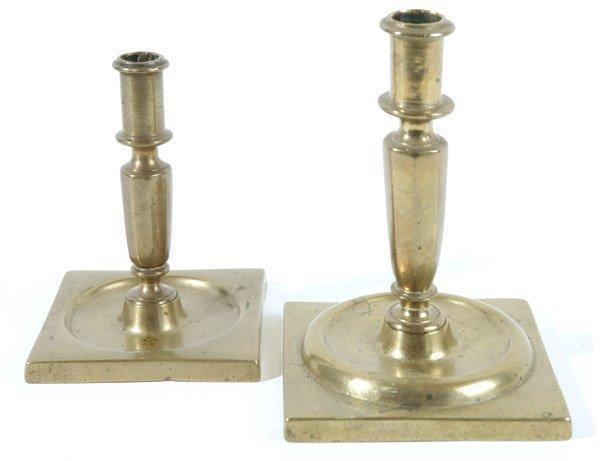 13: TWO QUEEN ANNE SQUARE BASE BRASS CANDLESTICKS