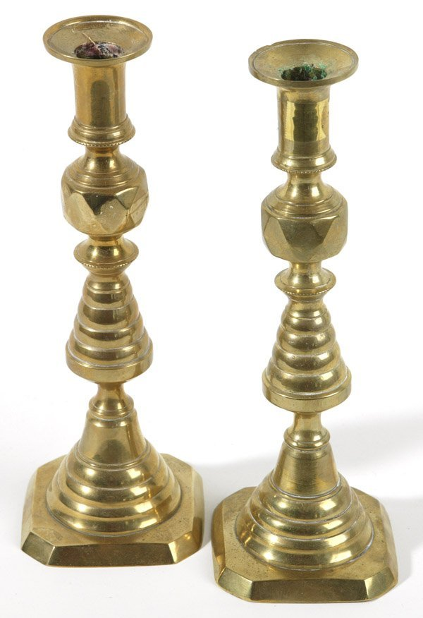 16: PAIR OF VICTORIAN BEEHIVE BRASS CANDLESTICKS