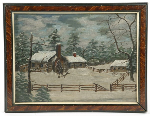 20: 19TH CENTURY FOLK ART PAINTING OF LOG CABIN
